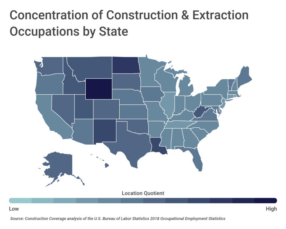 Concentration of Construction & Extraction Occupations by State
