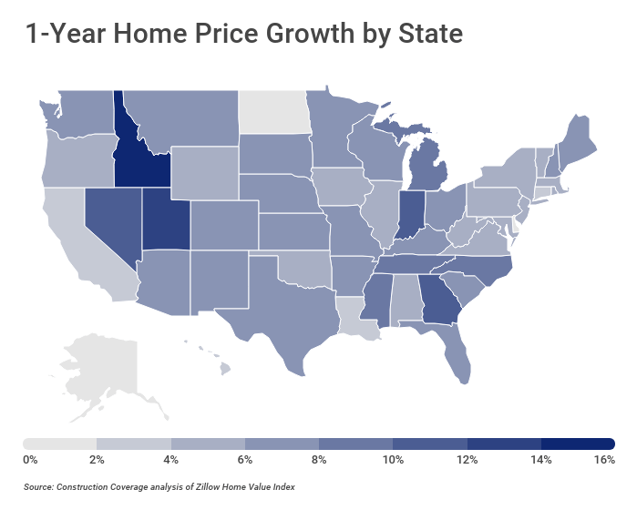 1-Year Home Price Growth by State