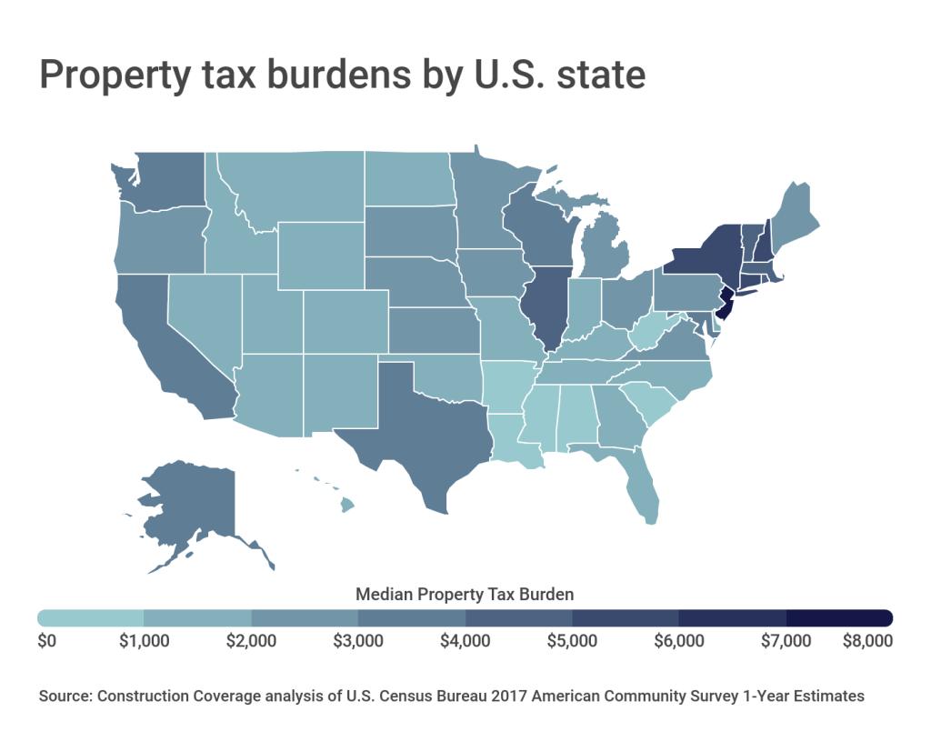 Property tax burdens by U.S. state