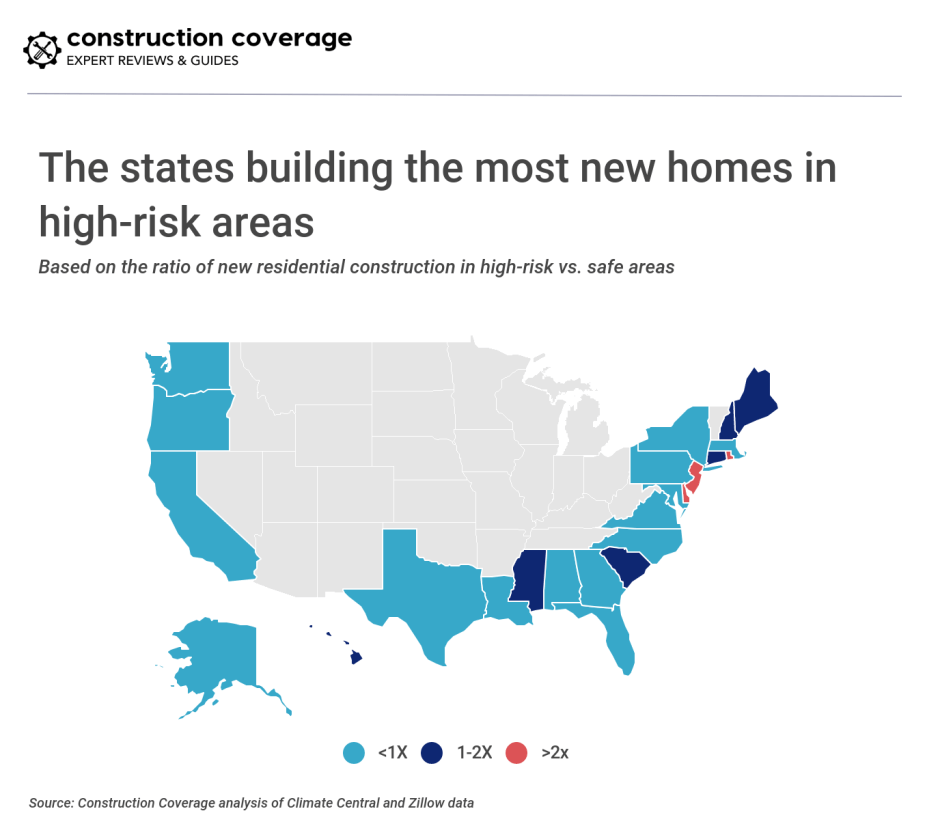 The states building the most new homes in high-risk areas
