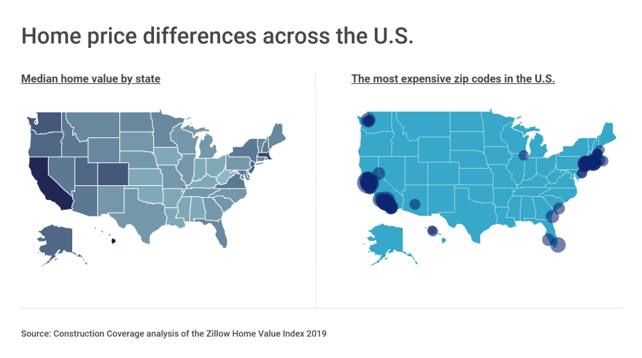 Home price differences across the U.S.