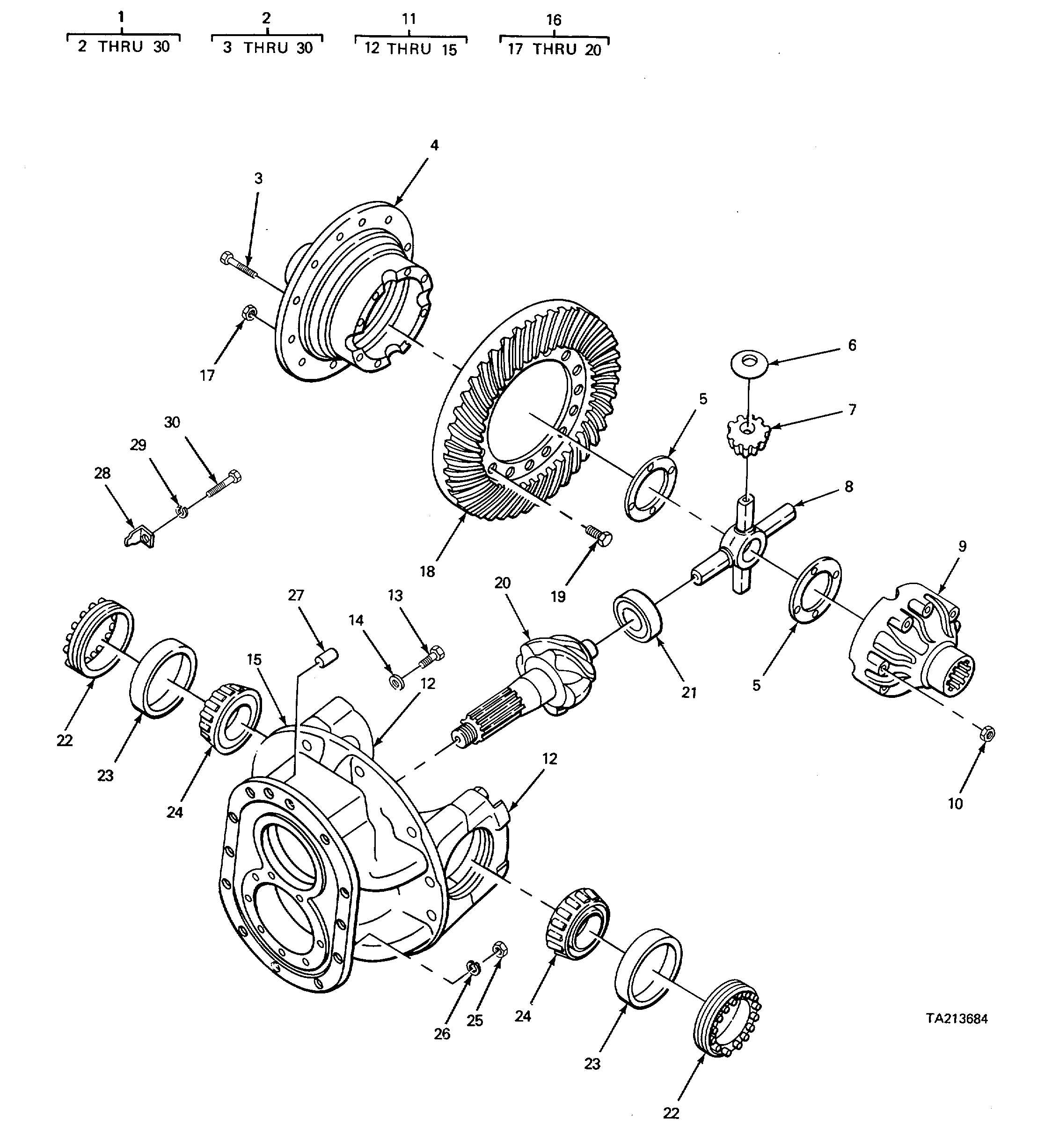 Figure 213 Differential And Carrier Components Parts Rear