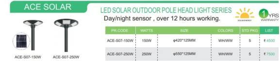 LED SOLAR OUTDOOR POLE HEAD LIGHT SERIES DETAILS
