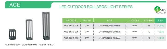 ACE   LED OUTDOOR BOLLARDS LIGHT SERIES-
