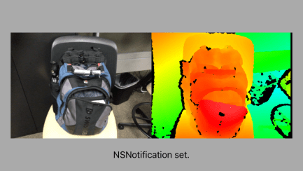 Camera image of backpack on chair on left, Structure Sensor Depth image on right.