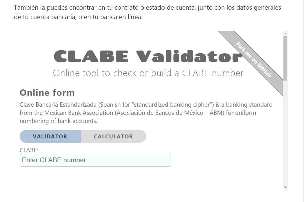 Validador CLABE