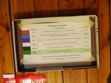 De fiche met uitdagingen die de deelnemers in hun doos vonden.