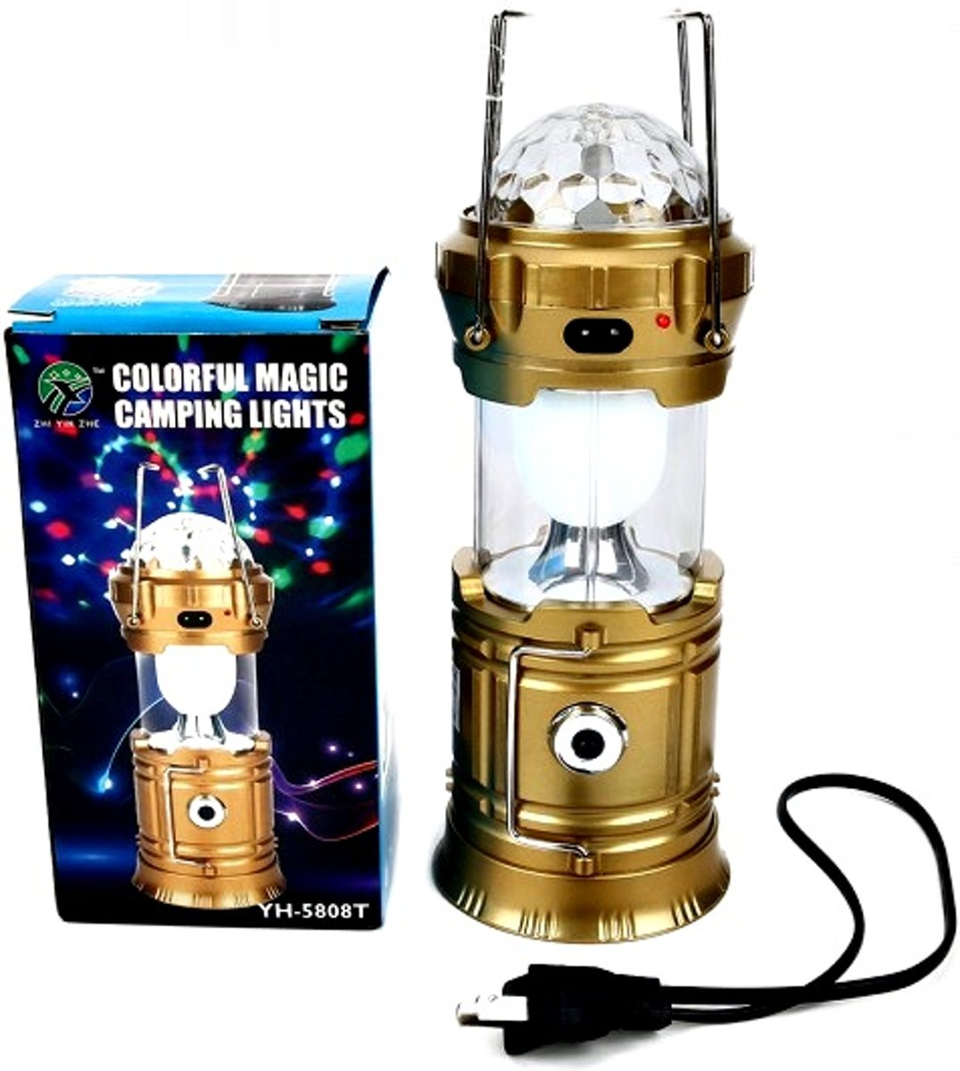 Multifunctional camping lamp – goud – met Bluetooth – discolamp 1