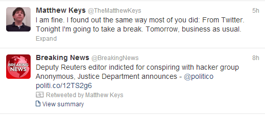 Matthew Keys tweets