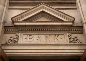 Bank sign in carved stone