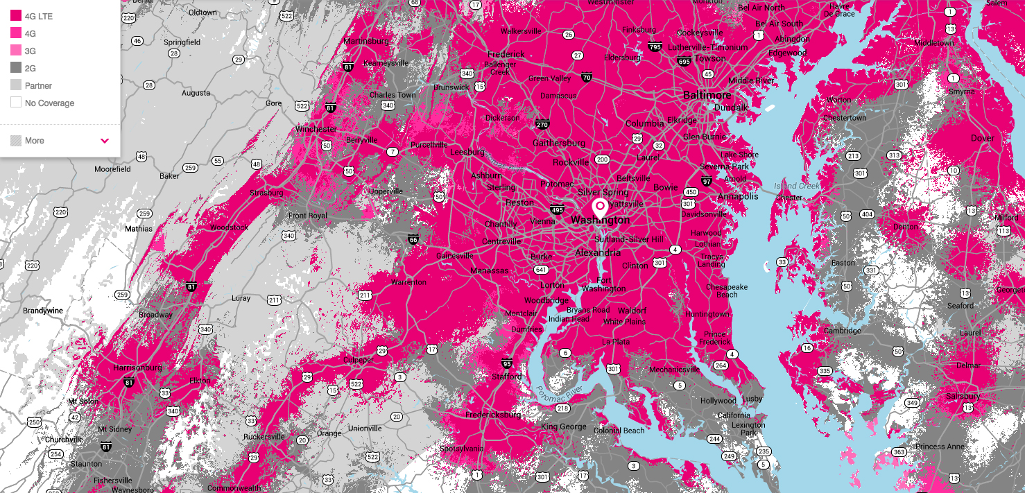 T Mobile Decides To Base New Coverage Map On Real Data From Real     T Mobile s dynamic coverage map for the greater Washington  DC area