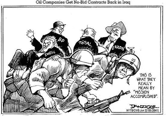 Iraq war and oil, cartoon