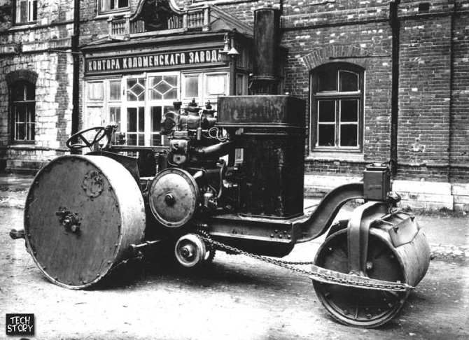Дорожный каток с дизельным двигателем. 1910-1912 г.г.