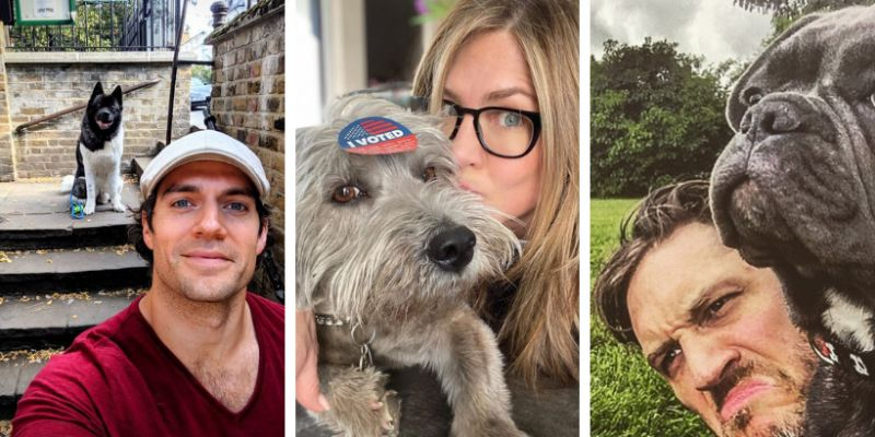 Actors and their dogs.  Among dog lovers, Henry Cavill, Jennifer Aniston, Tom Hardy