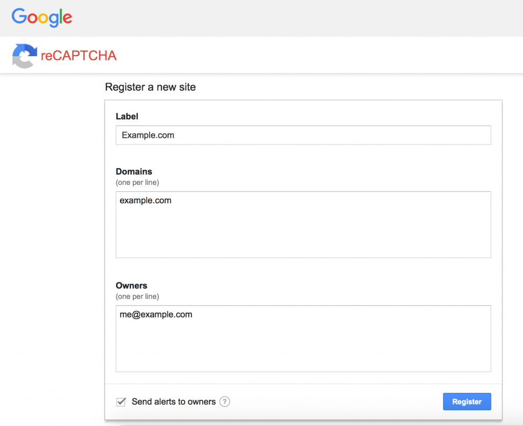 Screen Shot Of Google ReCAPTCHA Admin Page