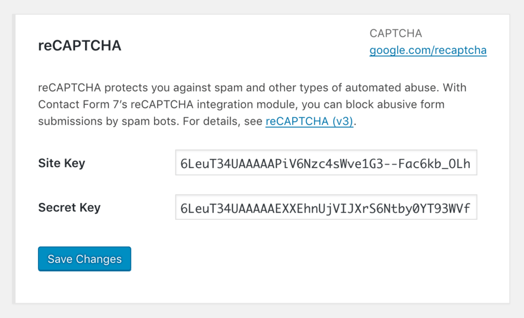Screenshot of the Integration page after entering the API keys