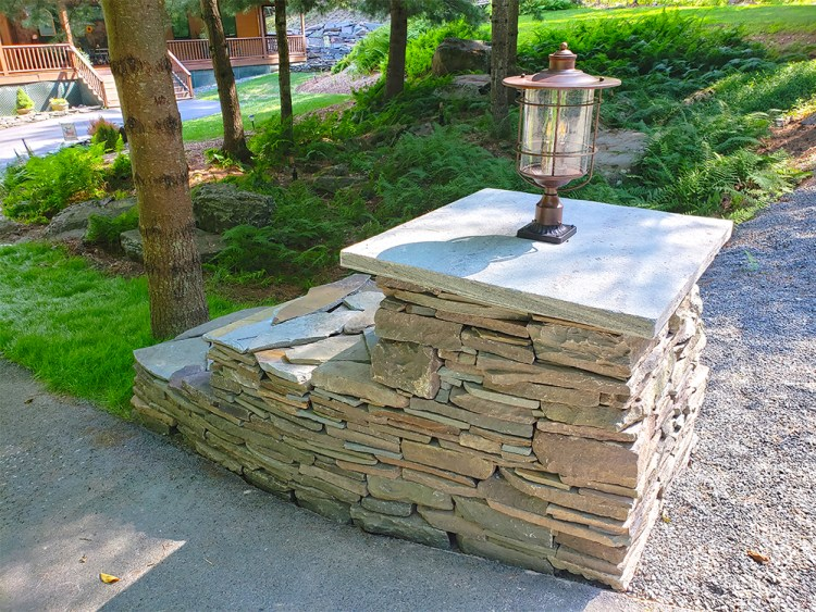 After photo of a stone pillar