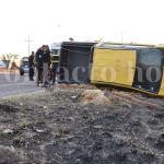 Un lesionado y fuertes daños en choque por el bulevar José María Patoni