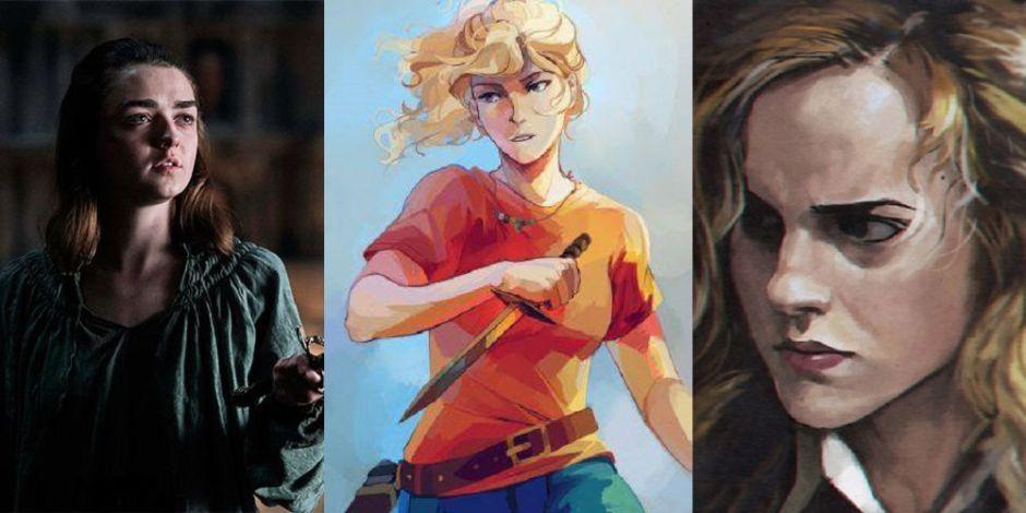 Imagens de Arya Stark, Annabeth e Hermione Graner, todas personagens femininas da literatura.