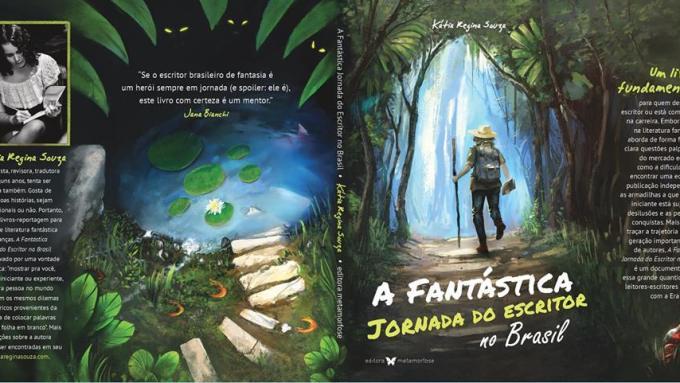 Na capa do livro, um explorador adentra uma floresta misteriosa