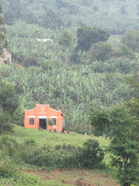 This little pink church in the mountains near Bwindi