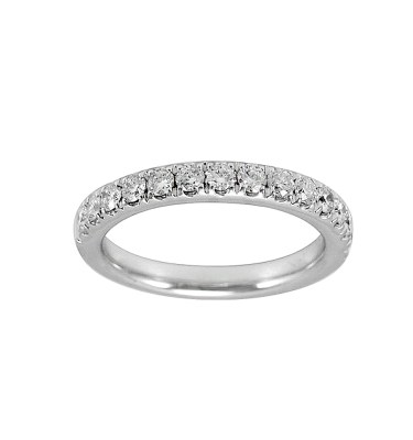 LADY'S 14KT WHITE GOLD WEDDING BAND WITH ROUND DIAMONDS-YKR00074-001