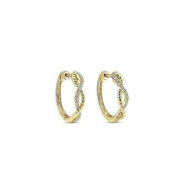 14 KT YELLOW GOLD TWISTED SMALL HOOP EARRINGS WITH .14CTS TOTAL WEIGHT DIAMONDS-EG13062Y45JJ