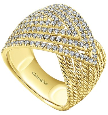 14 KT YELLOW GOLD RING WITH.92 CTS TOTAL DIAMOND WEIGHT-LR51158Y45JJ