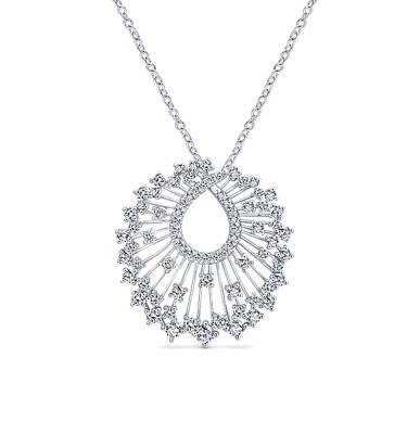 "18 KT WHITE GOLD DIAMOND PENDANT ON A 17"" CHAIN-NK5634W84JJ"
