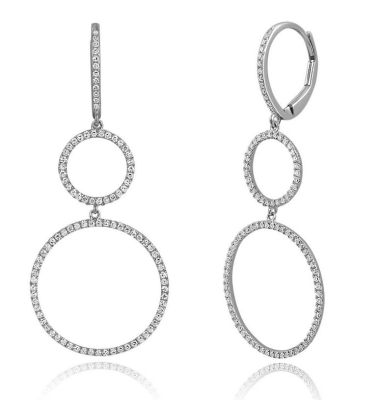 14 KT WHITE GOLD DOUBLE CIRCLE EARRINGS WITH 196=0.60TW ROUND DIAMONDS - SE20951