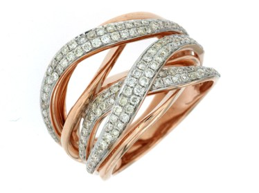 14 KT ROSE GOLD FANCY WEAVE RING WITH ROUND DIAMONDS-PC6199D