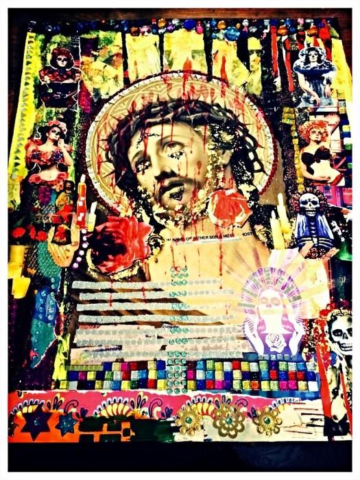 layered collage Jesus