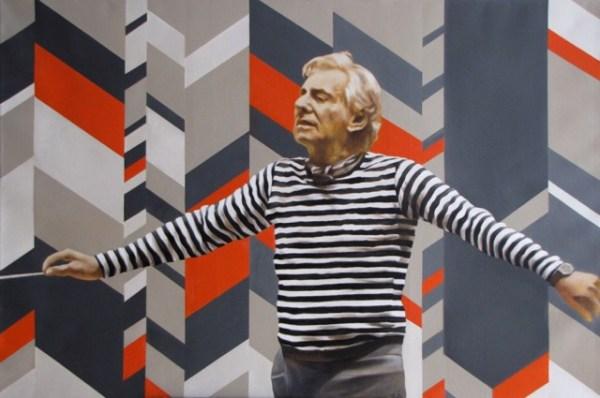 Leornard Bernstein.Oil on Canvas