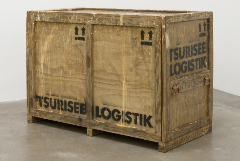 3 Tsürisee Logistik Shipping Crate 001 (2015), plywood, paint, hardware, 62.5 x 30.5 x 44 inches. Image coutresy of the artist. Photo: Dan Levenson