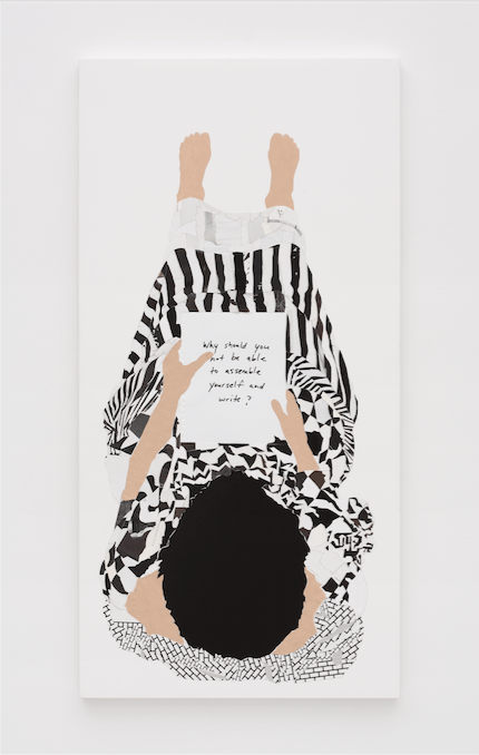 Frances Stark, Why should you not be able to assemble yourself and write (2008). Vinyl, paint, rice paper & fabric on casein on canvas, 55 x 34 inches. Image courtesy of the artist and Marc Foxx, Los Angeles. Photo: Robert Wedemeyer.