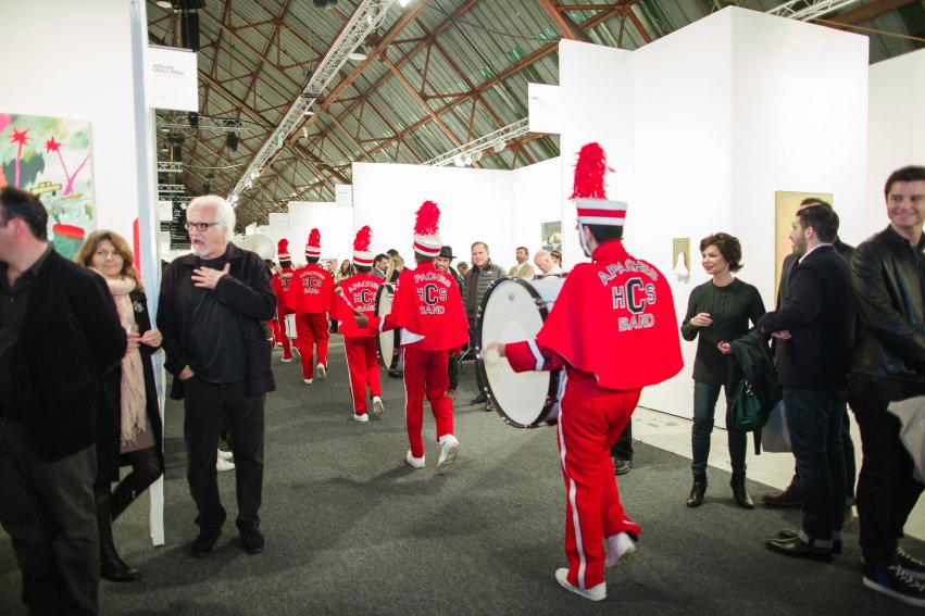 Alison O'Daniel, Centennial Marching Band Forwards, Backwards, Pause, Silent, (documentation of performance) (2016). Organized by JOAN, Los Angeles, for Art Los Angeles Contemporary, January 28, 2016, Photo: Gina Clyne.