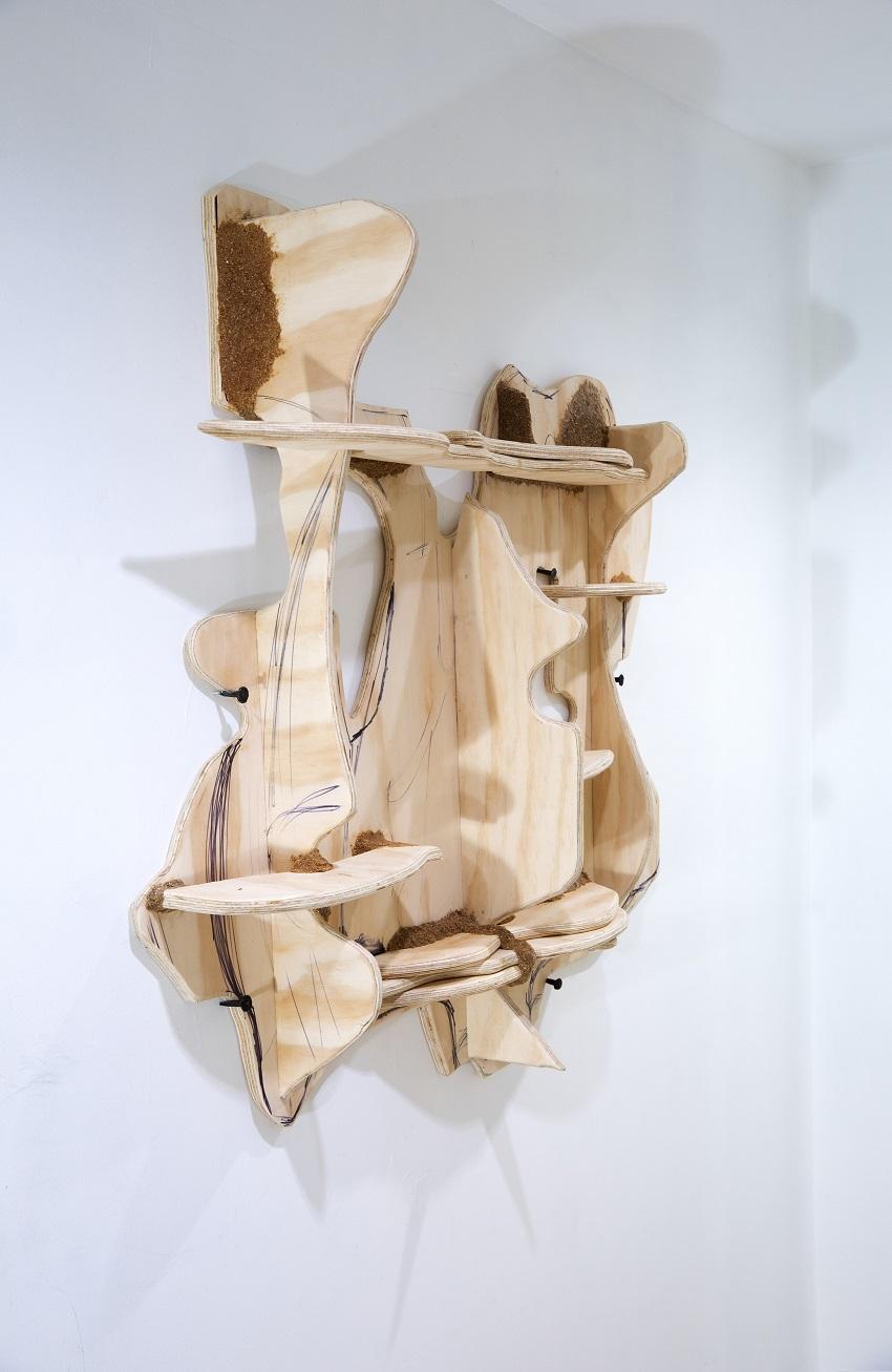 Jessi Reaves - Bunny Face (aliveness) shelf, 2016, plywood, sawdust, ink, hardware
