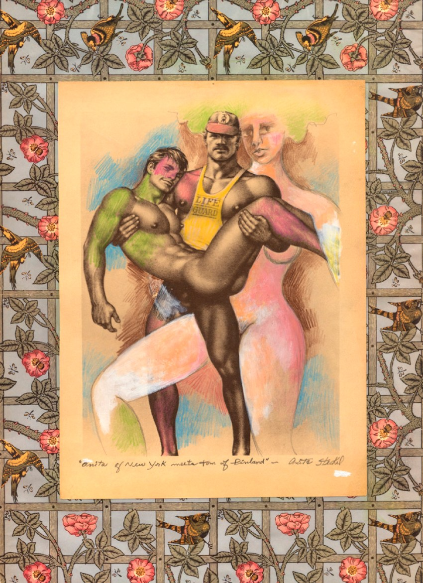 Anita Steckel, Anita of New York Meets Tom of Finland (2004/2005). Mixed media on book pages, 19.6 x 13.5 inches. Image courtesy of Estate of Anita Steckel and the Suzanne Geiss Company, New York. Photo: Adam Reich.