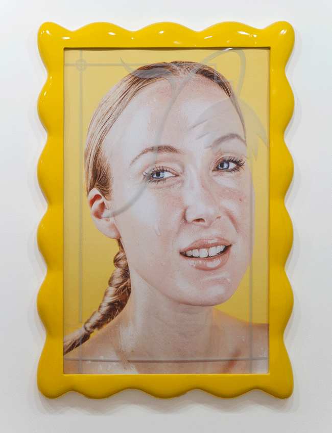 Orion Martin, Son of a Hairdresser (2015). Photograph, etched glass, MDF, acrylic and enamel, 56 x 40 inches. Image courtesy of the artist and Favorite Goods.