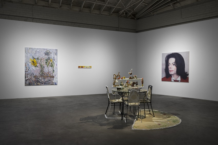 Aunt Nancy (2016). Installation view. From left: Sam Lipp, Untitled (2016); Chloe Seibert, Big Fist (2015); Anna Rosen, Time Table, (2016). Image courtesy of Night Gallery. Photo: Jeff Mclane.