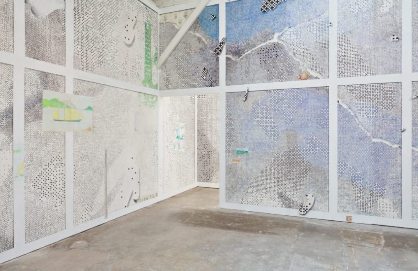 Laura Owens, Untitled (Installation view) (2016). Acrylic, oil, Flashe, silkscreen inks, charcoal, pastel pencil, graphite, and sand on wallpaper. Image courtesy of the artist and Gavin Brown's enterprise, New York; Sadie Coles HQ, London; Galerie Gisela Capitain, Cologne. © Laura Owens. Photo: Johnna Arnold.