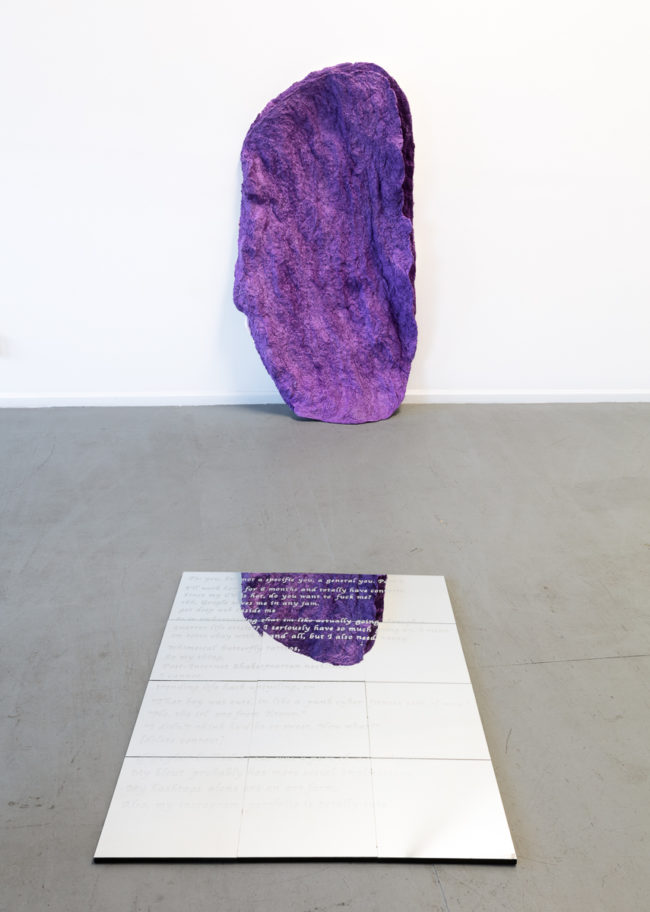 Chelsea McCarthy, Bivalve (Wall Relief) (2016), and Andrew Emard, To You: But Not A Specific You, A General You: Part 1 (2015). Image courtesy of the artists and Skibum MacCarthur. Photo: Brica Wilcox.