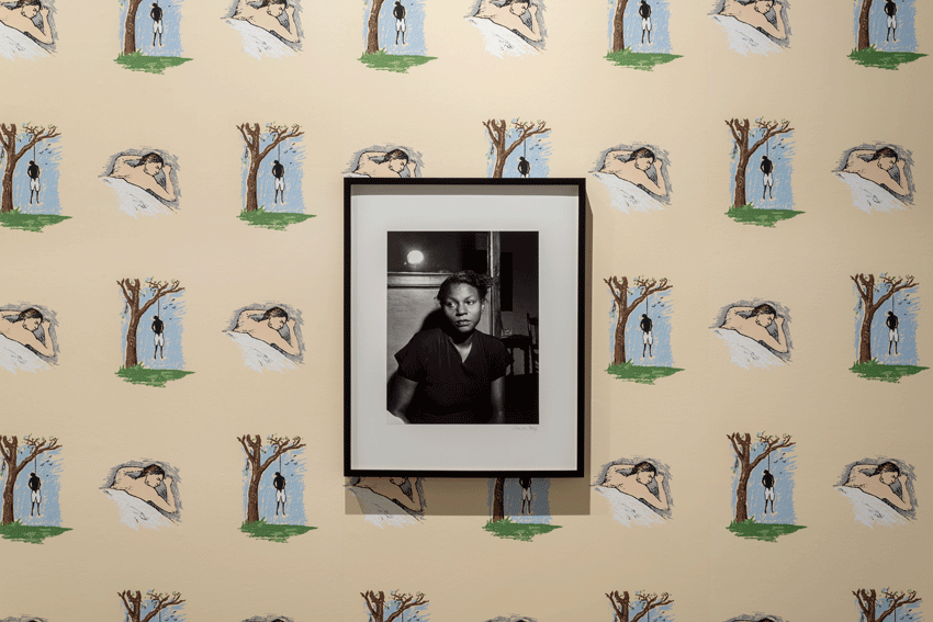 Robert Gober, Hanging Man / Sleeping Man (1989). Screen-printed wallpaper. Image courtesy of the Museum of Contemporary Art, Los Angeles. Photo: Justin Lubliner. Marion Palfi, Wife of a Lynch Victim (1949). Gelatin silver print. Image courtesy of the Museum of Contemporary Art, Los Angeles. Gift of Sue and Al Dorskind. Photo: Justin Lubliner.
