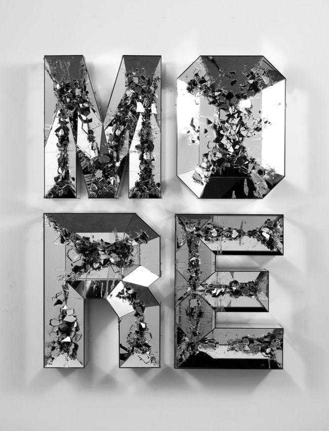 Doug Aitken, MORE (shattered pour), 2013, high-‐‑density foam, wood, mirror, 63 × 48 1⁄