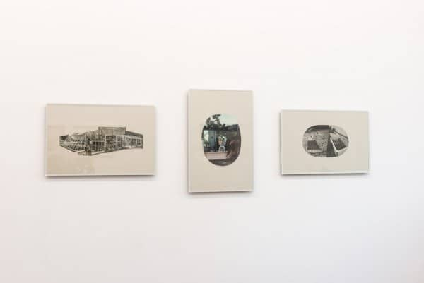 Kama Sokolnicka, Locus Solus 1 – 3, 2012, collages on gray paper in author's, gardening frames, 56 x 38 cm, courtesy BWA Warszawa