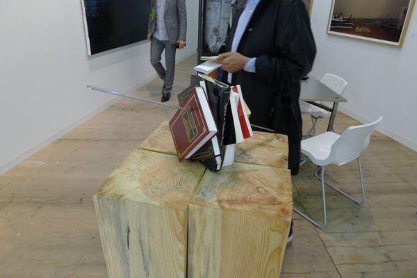Slavs and Tatars, Kitab Kebab, 2013, books, skewer, pedestal, various dimensions, Raster, booth 0/10/10, photo Andrzej Szczepaniak for Contemporary Lynx