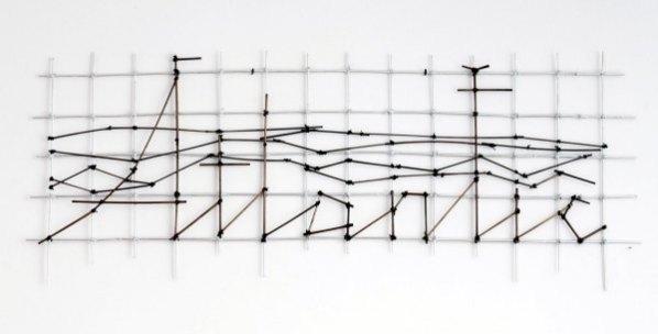 Agnieszka Kalinowska, Extinguished Neon Sign 2 (Atlantic), 2011, straw, linen string, silver silicone print, 50 x 127 cm, photo courtesy BWA Warszawa