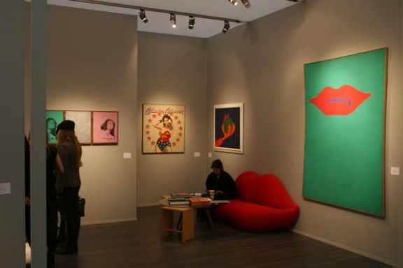 Display view of a gallery stand by Luxembourg & Dyan where paintings by Jurry were presented next to American pop artists: Warhol, Oldenburg, Wesselmann and Jones, Frieze Masters, October 2013, photo courtesy of Zderzak Gallery Frieze Masters, photo courtesy of Zderzak Gallery