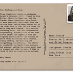 PostcART: Mary Ceruti – an Executive Director and Chief Curator at SculptureCenter sent us a Postcard from New York