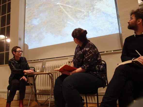 Joanna Rajkowska in discussion with Sarah McCrory (Glasgow International) and Sebastian Cichocki (Museum of Modern Art, Warsaw), Book launch – Where The Beast Is Buried by Joanna Rajkowska, Showroom, London, January 2014, photo Contemporary Lynx